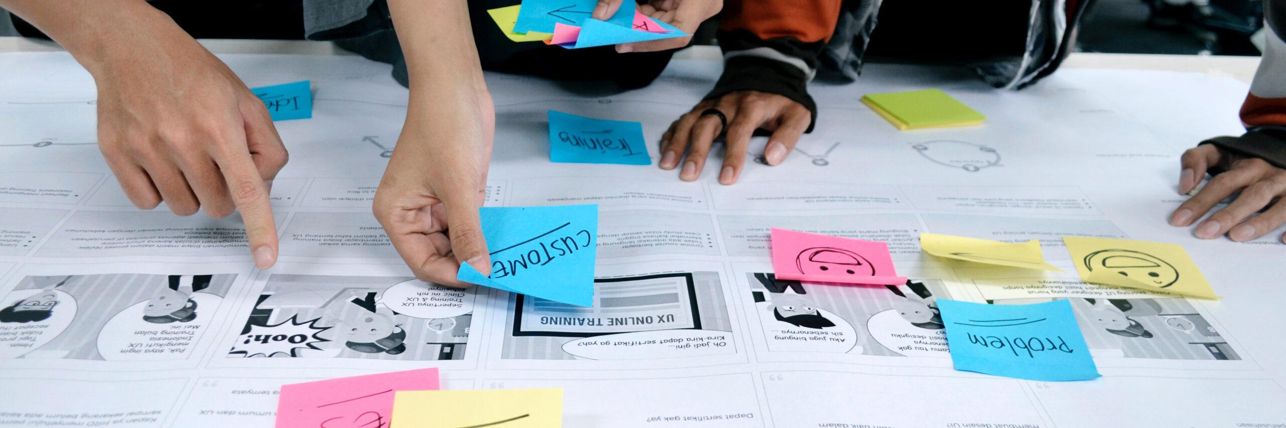 Systemischer Beratungsansatz, agile Methoden, Positive Psychologie: Lernen Sie die Philosophie und Arbeitsweise von Normann Consulting kennen. Das Bild zeigt Hände, die Post-its mit Aufschriften sortieren.